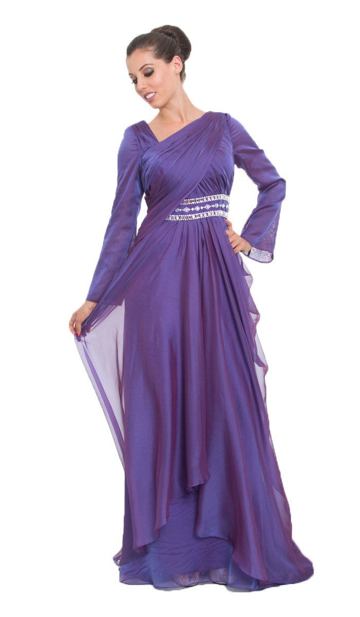 Purple Long Sleeve Silk Modest Muslim Formal Evening Dress ...