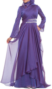 Michel Long Sleeve Silk Chiffon Modest Muslim Formal Evening Dress - Purple - ARTIZARA.COM