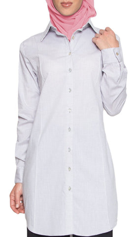 Nazilla Micro Plaid Collared Buttondown Dress Shirt - Gray - ARTIZARA.COM