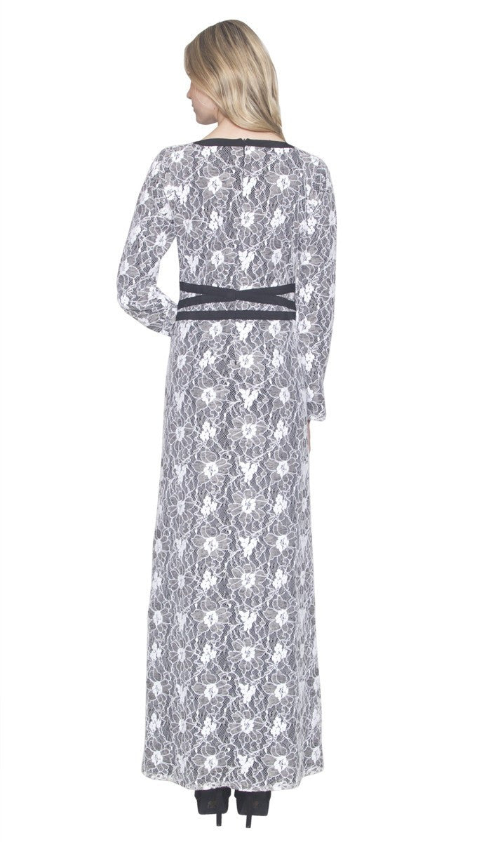 Minka Lace Modest Muslim Evening Dress Abaya - Black and White - ARTIZARA.COM