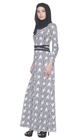 Minka Lace Modest Muslim Evening Dress Abaya - Black and White