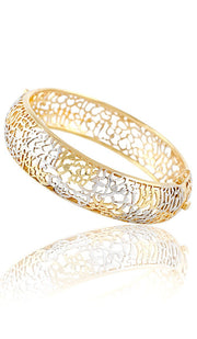 Sterling Silver Two Tone Gold/Silver Ayat al Kursi Bangle Bracelet - ARTIZARA.COM