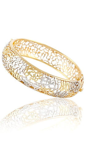 Sterling Silver Two Tone Gold/Silver Ayat al Kursi Bangle Bracelet