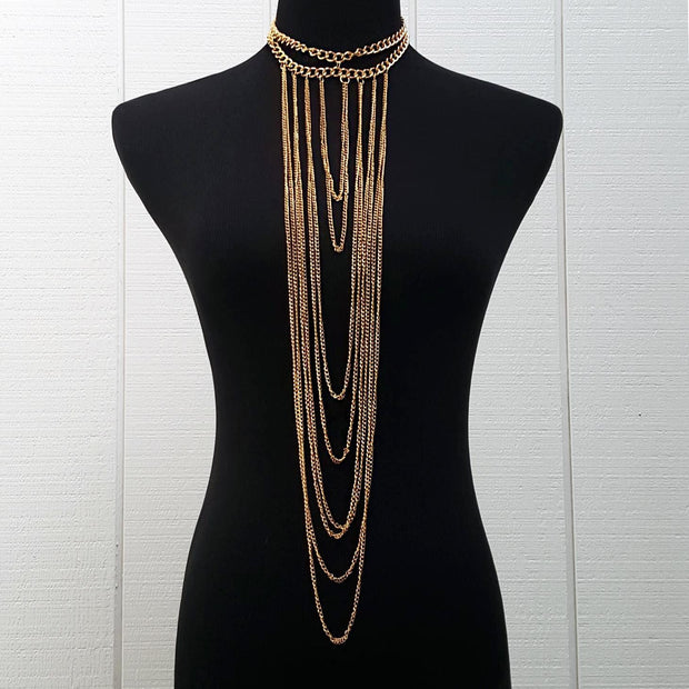 Multi-Chained Choker - Gold - ARTIZARA.COM