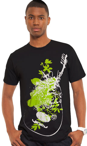 """Music of the Heart"" Mens Short Sleeve Designer Tee - Black - ARTIZARA.COM"