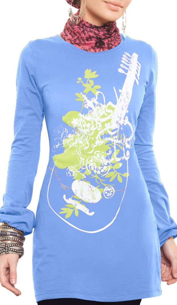 Music of the Heart Designer Islamic Tee - French Blue - ARTIZARA.COM