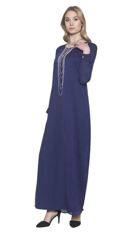 Dasha Elegant Chiffon Maxi Dress Abaya - Navy - ARTIZARA.COM