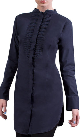Sameena Long Fine Cotton Dress Shirt - Navy - ARTIZARA.COM