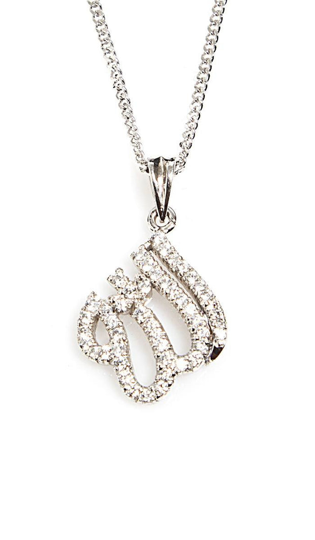 Sterling Silver Diamond-Look Allah Necklace (small) - ARTIZARA.COM