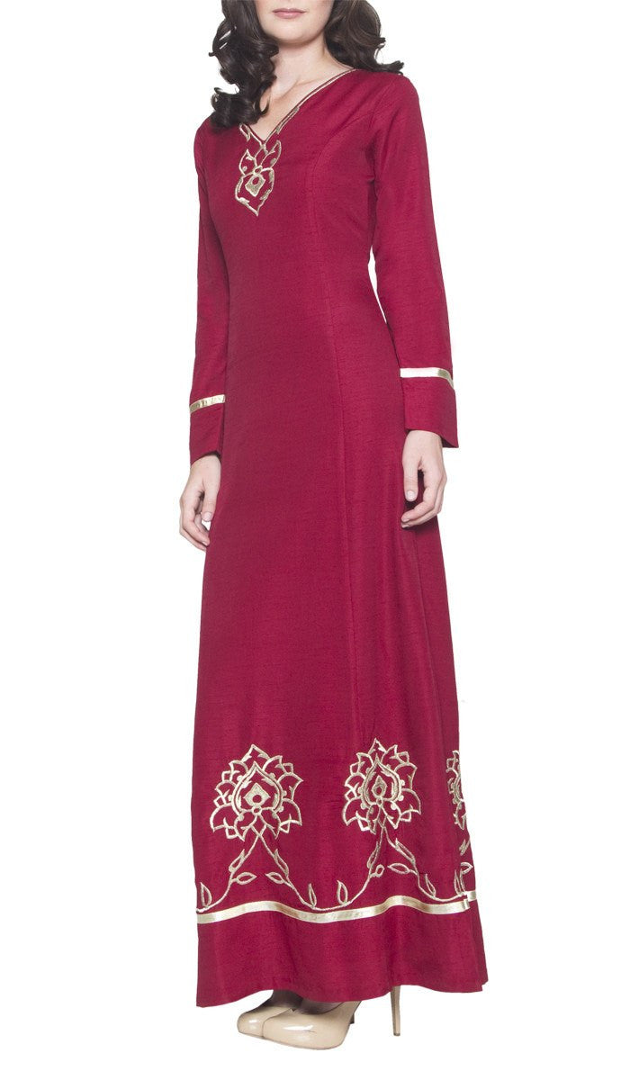 Noor Long Sleeve Modest Muslim Formal Evening Dress - Maroon Red