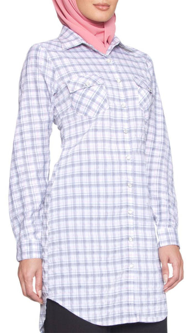 Nora Long Gray/Pink Plaid Button-down Shirt - ARTIZARA.COM
