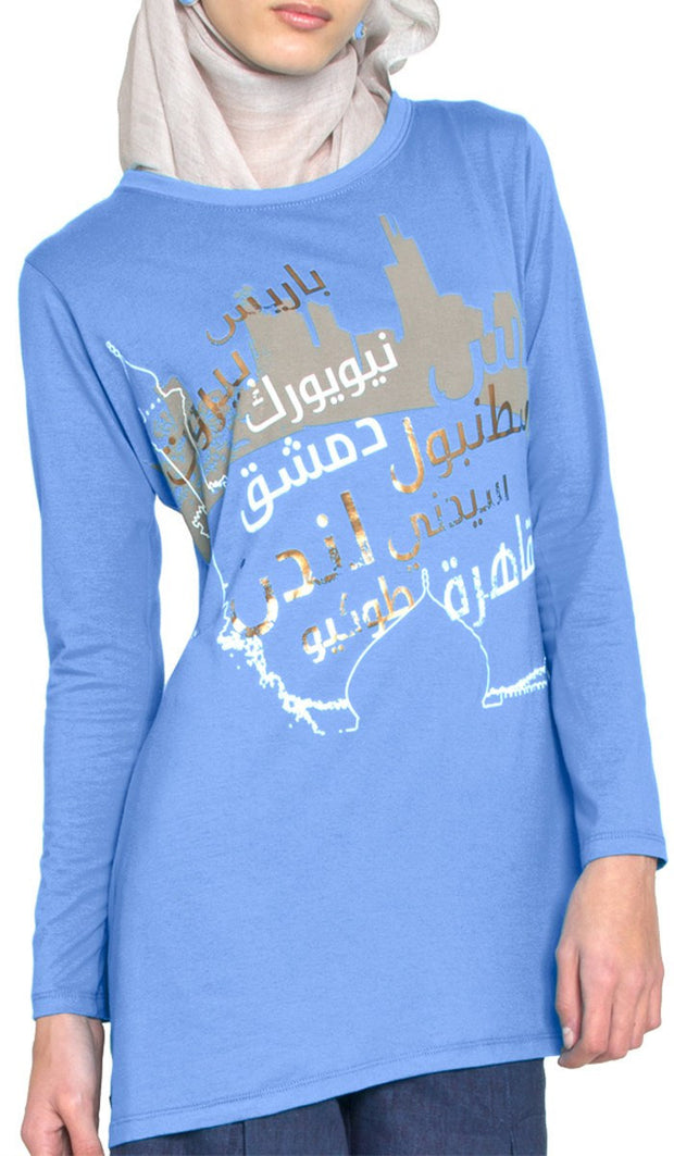 One World Designer Long Muslim T Shirt - French Blue - ARTIZARA.COM