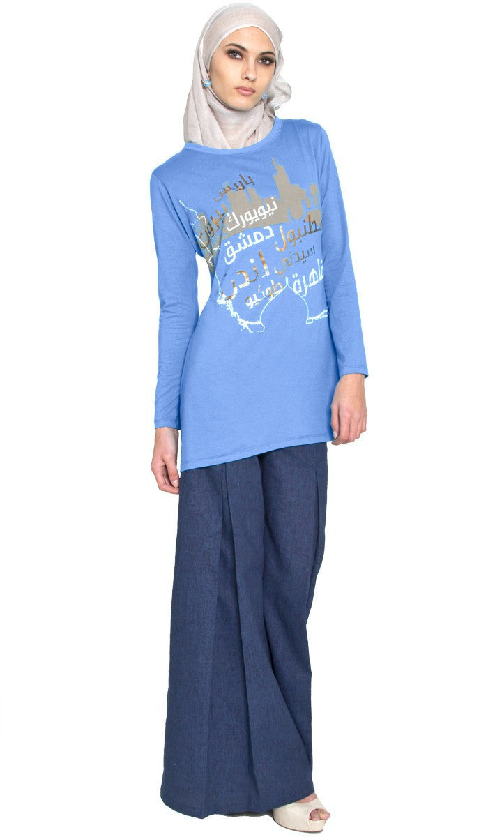 One World Designer Long Muslim T Shirt - French Blue