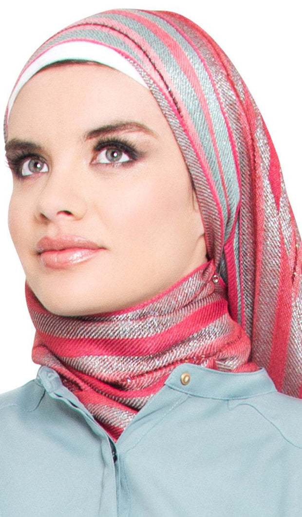 Pink and Sage Sequin Striped Hijab Scarf - ARTIZARA.COM