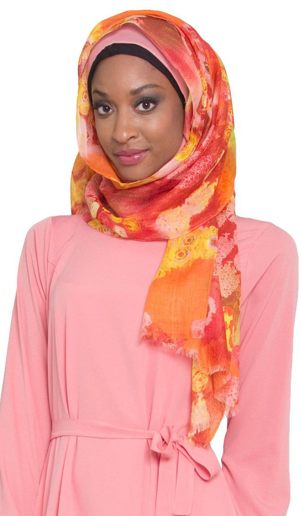 Pink and Yellow Floral Hijab Scarf - ARTIZARA.COM