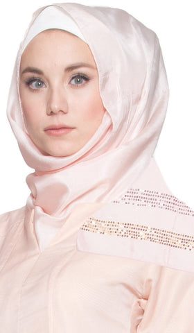 Formal Silk Wrap Hijab Scarf with Sequins - Blush - ARTIZARA.COM
