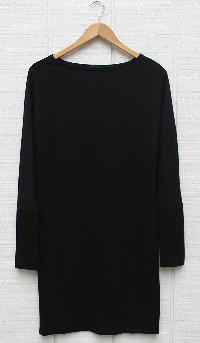Kate Stylish Dolman Sleeve Stretch Long Tunic - Black