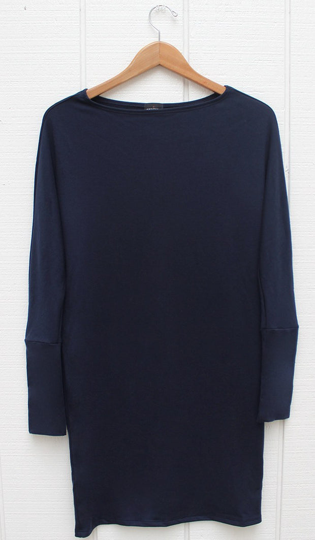Kate Stylish Dolman Sleeve Stretch Long Tunic - Navy - ARTIZARA.COM
