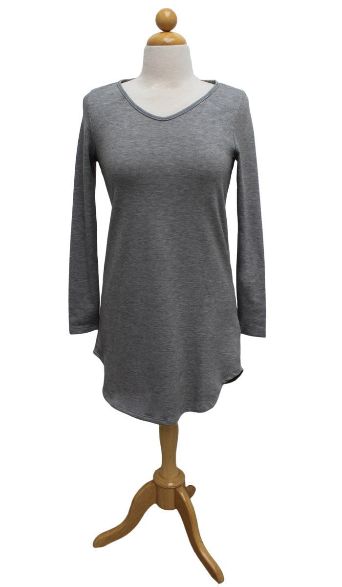 Tara Fine French Terry Tunic - Gray - ARTIZARA.COM