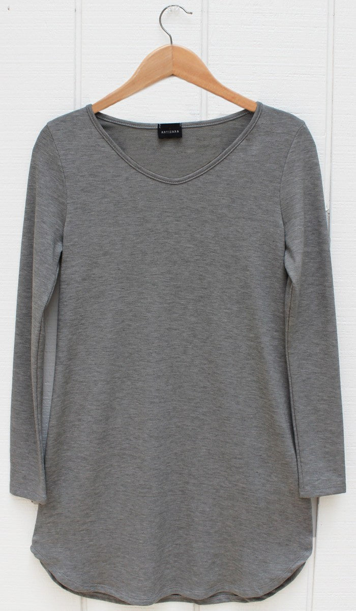Tara Fine French Terry Tunic - Gray