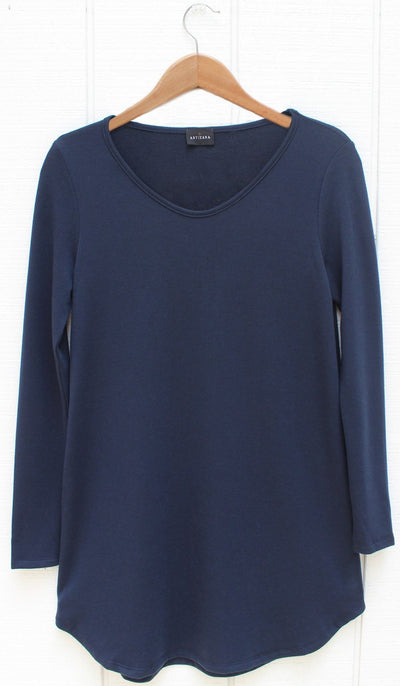 Tara Fine French Terry Tunic - Navy - ARTIZARA.COM