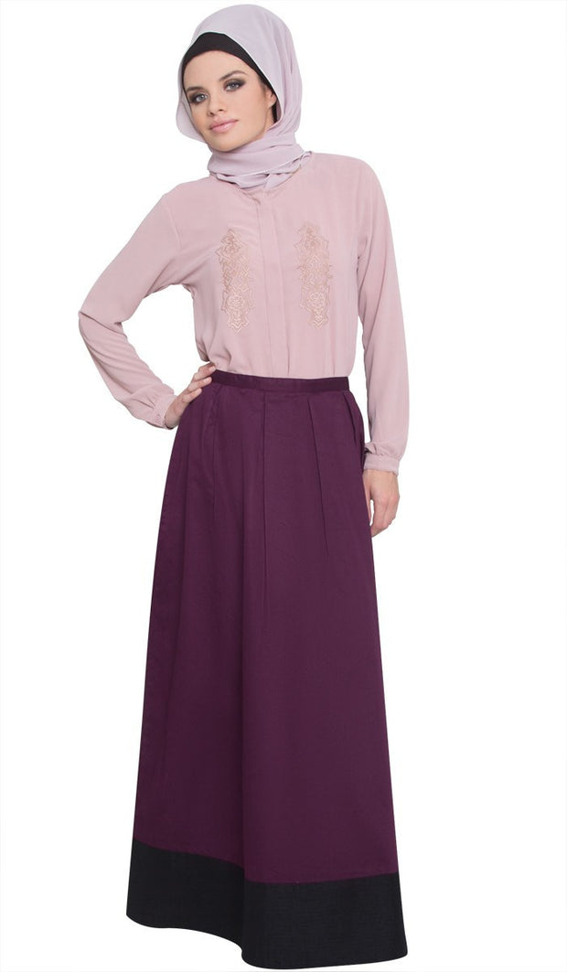Bella Formal Silky Long Maxi Skirt - Purple - ARTIZARA.COM