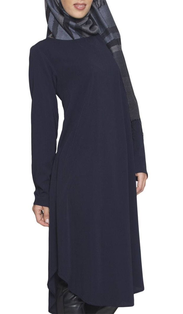 Rabeea Long Curved Hem Midi Tunic Dress - Navy - ARTIZARA.COM