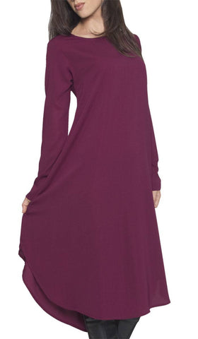 Rabeea Long Curved Hem Midi Tunic Dress - Purple Orchid - ARTIZARA.COM