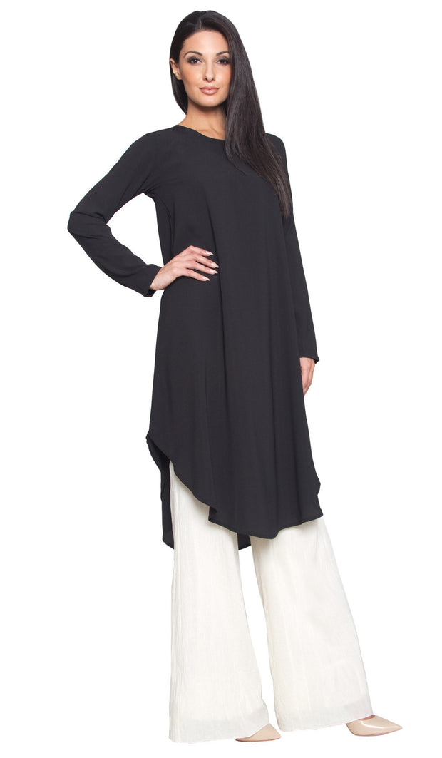 Rabeea Long Curved Hem Midi Tunic Dress - Black - ARTIZARA.COM