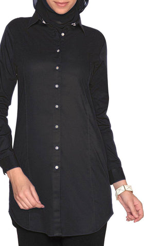 Rania Long Collar Buttondown Dress Shirt - Black - ARTIZARA.COM