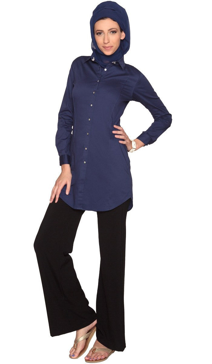 Rania Long Collar Buttondown Dress Shirt - Navy