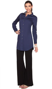 Rania Long Collar Buttondown Dress Shirt - Navy - ARTIZARA.COM