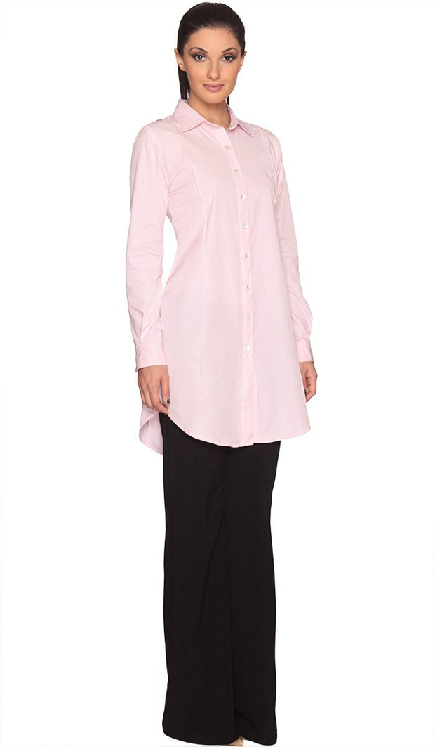 Rania Long Collar Buttondown Dress Shirt - Pink - ARTIZARA.COM