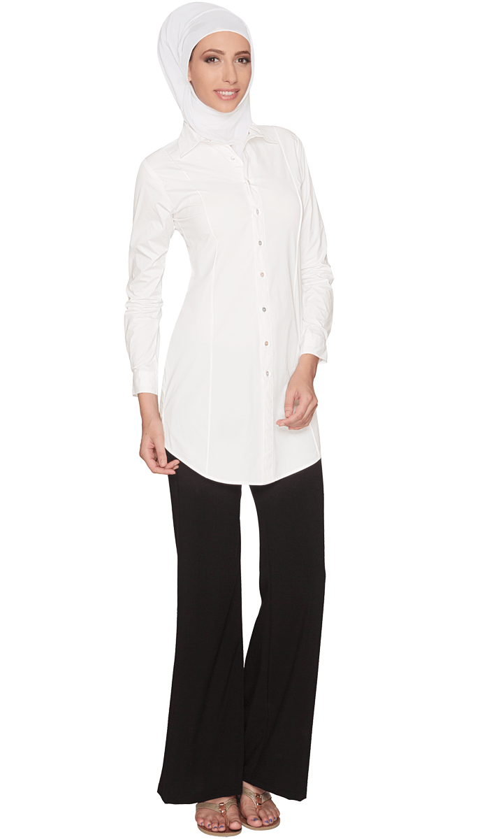 Rania Long Collar Buttondown Dress Shirt - Off white - ARTIZARA.COM