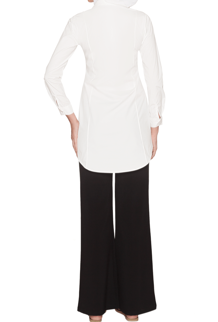 Rania Long Collar Buttondown Dress Shirt - Off white