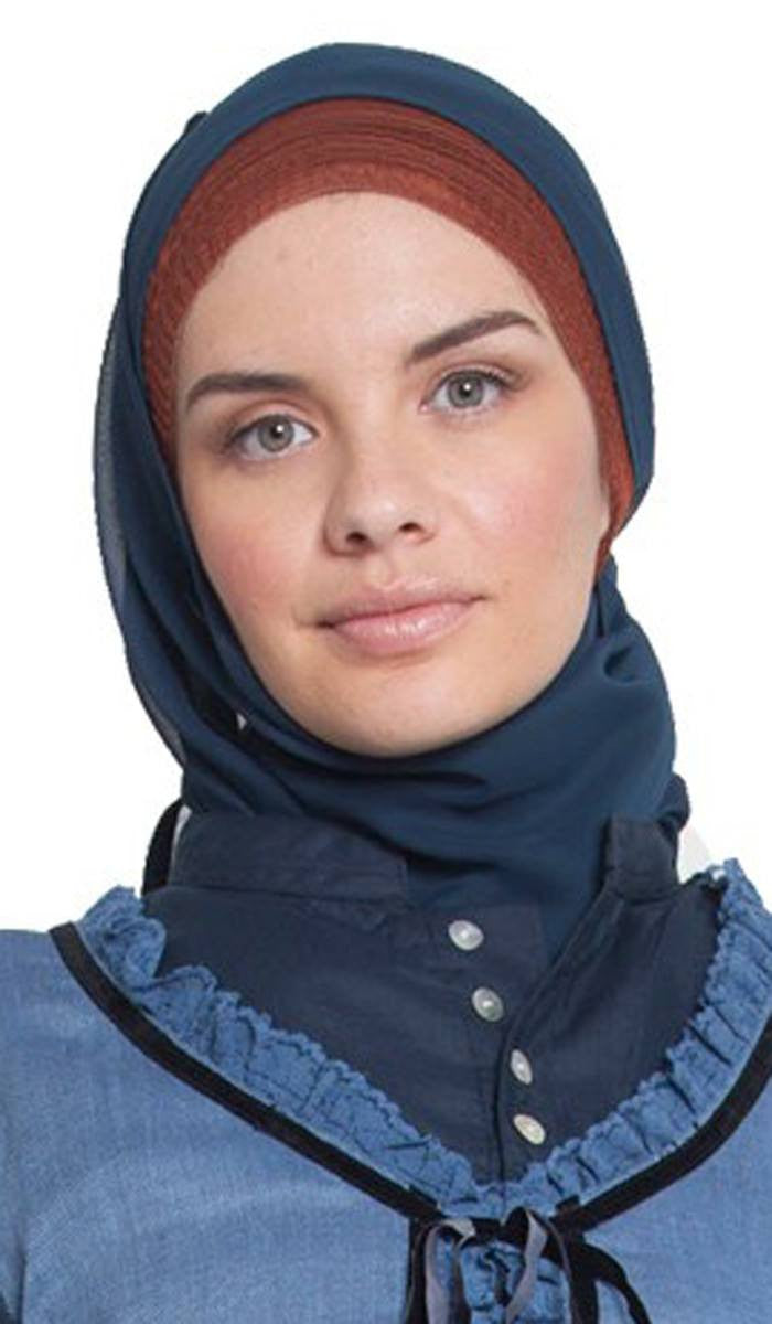 Teal Blue Hijab with Black Velvet Trim
