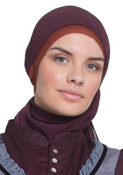 Deep Purple Brown Wrap Hijab with Black Velvet Edge - ARTIZARA.COM