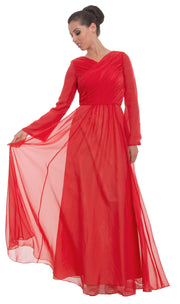 Saba Long Sleeve Silk Chiffon Modest Muslim Formal Evening Dress - Coral Pink - ARTIZARA.COM