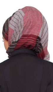 Maroon, Black and Grey Plaid Wrap Hijab Scarf - ARTIZARA.COM