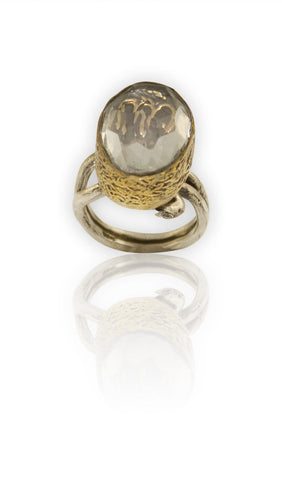 "Hand Engraved Oval Sterling Silver and Faceted Quartz ""Allah"" Ring"