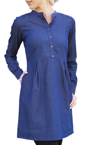 Roha Long Popover Tunic Dress - Chambray Denim