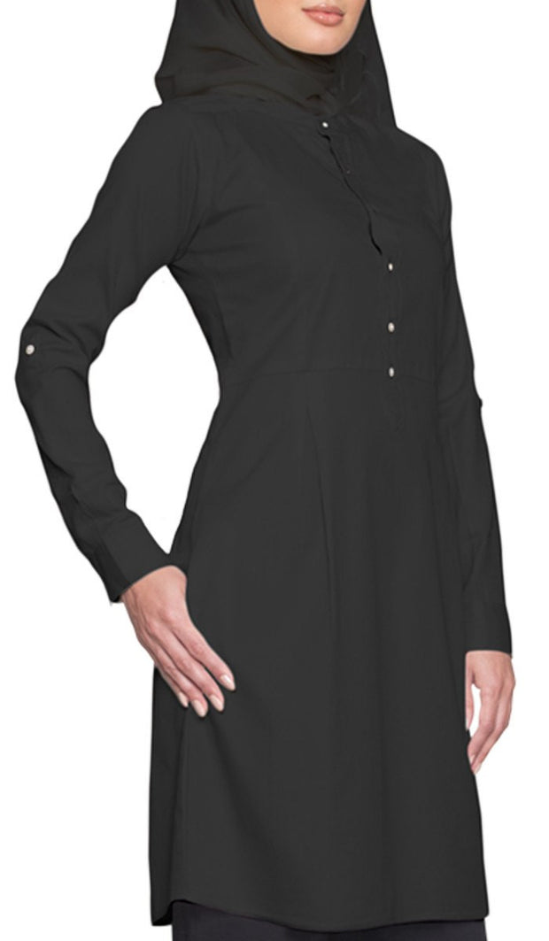 Roha Long Fine Cotton Popover Tunic Dress - Black - ARTIZARA.COM