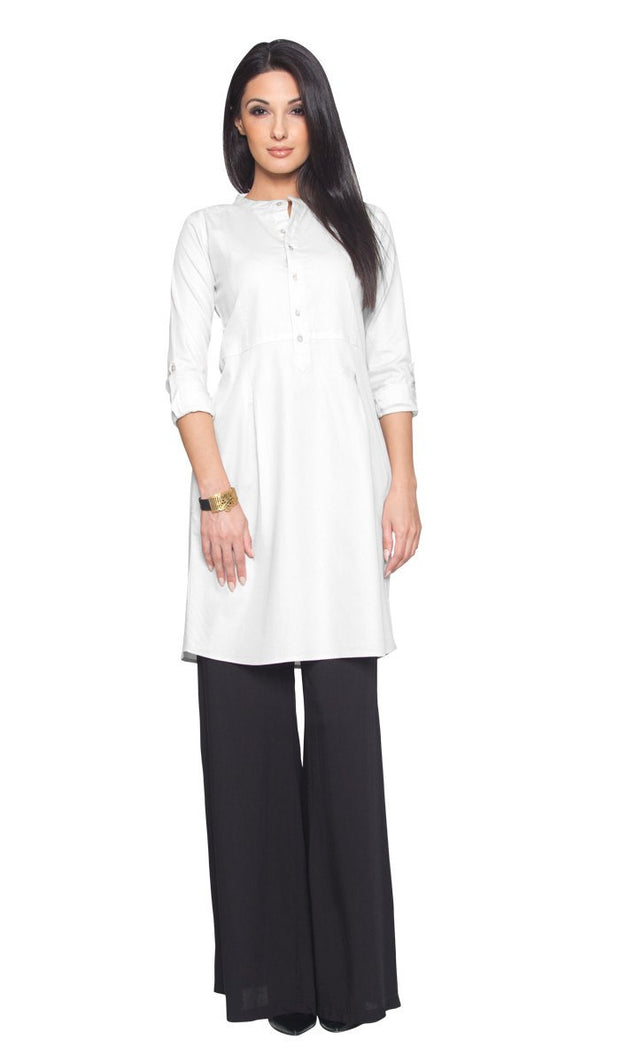 Roha Long Fine Cotton Popover Tunic Dress - White - ARTIZARA.COM