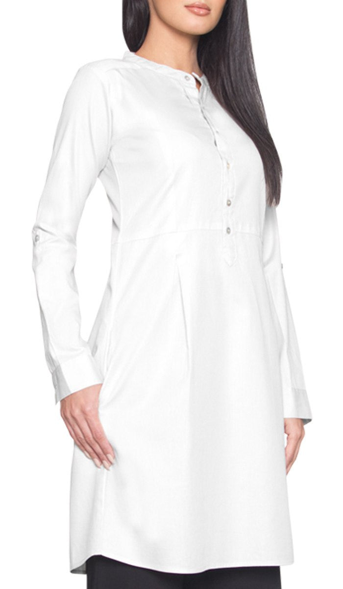 Roha Long Fine Cotton Popover Tunic Dress - White