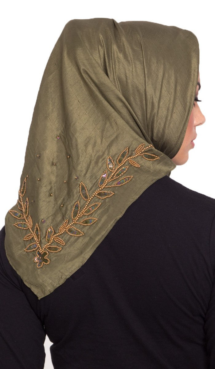 Rula Hand Embroidered Silk Wrap Hijab Scarf - Olive Green