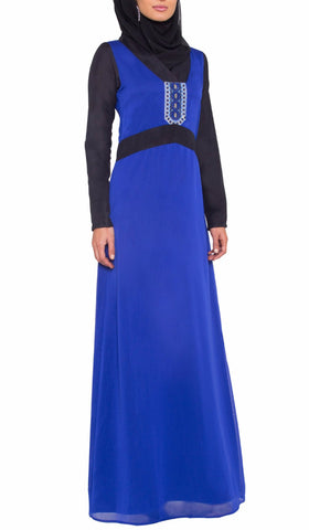 Saeera Long Sleeve Modest Muslim Formal Evening Dress - Royal Blue