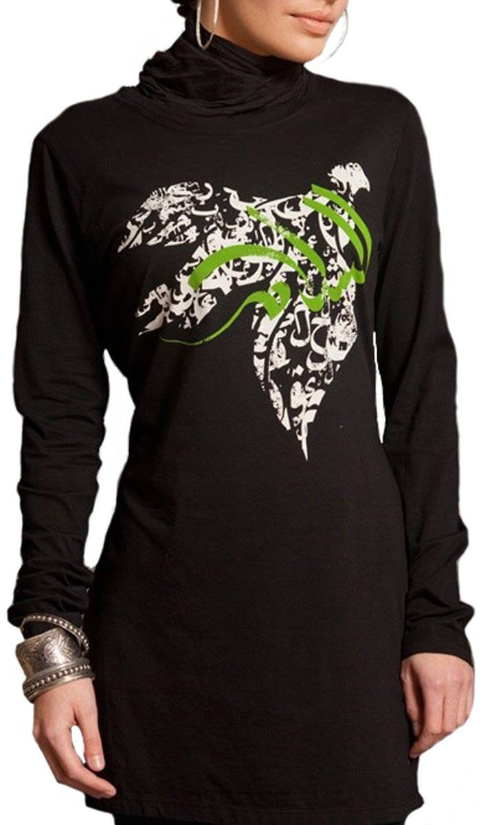 4bf1ad5c3906 Salam Womens Islamic Long Black T-Shirt | Designer Islamic T-shirts ...