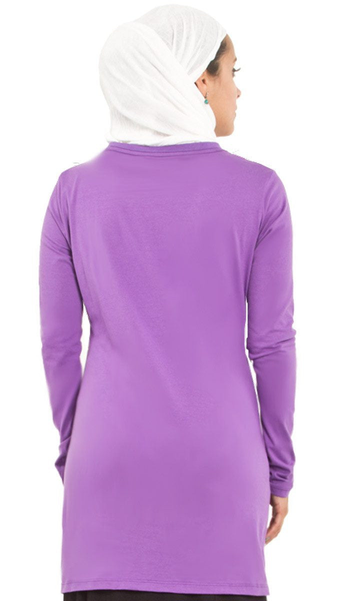 One World Designer Long Muslim T Shirt - Purple