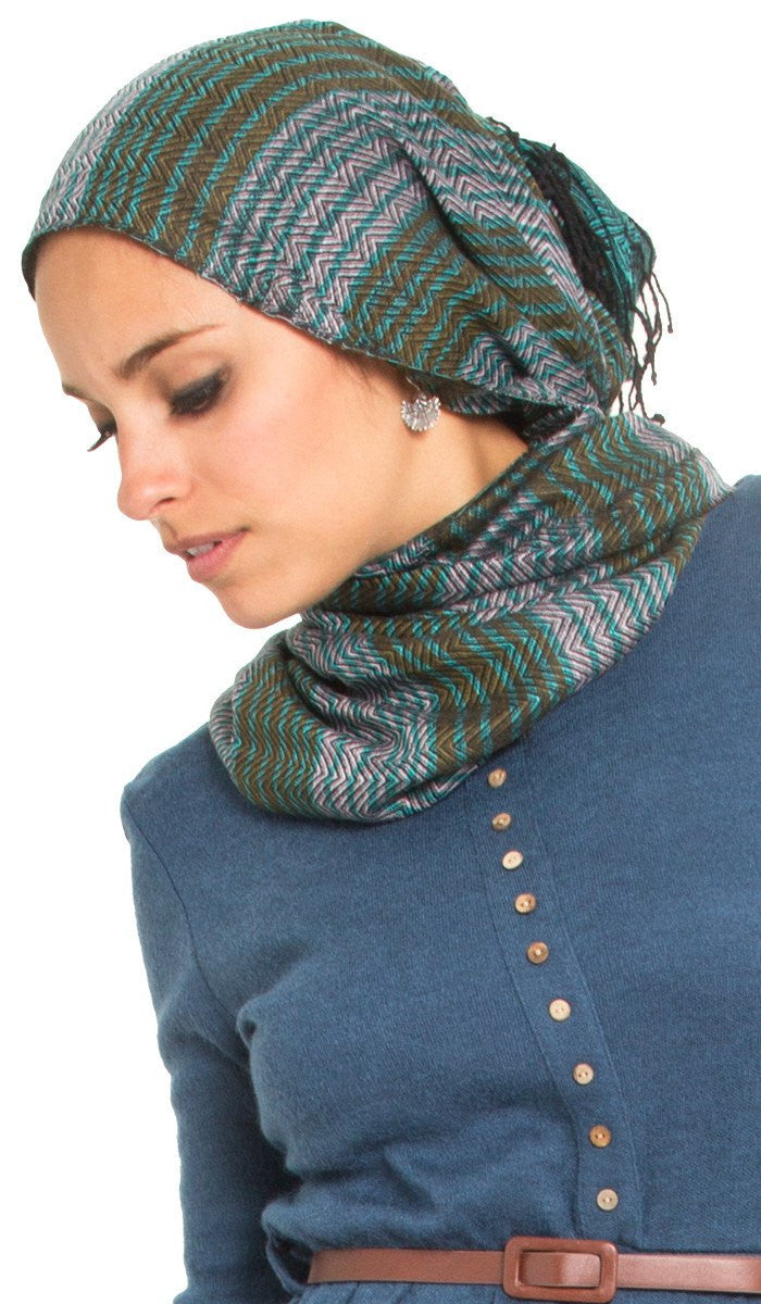 Teal, Bronze and Gray Herringbone Stripe Wrap - ARTIZARA.COM