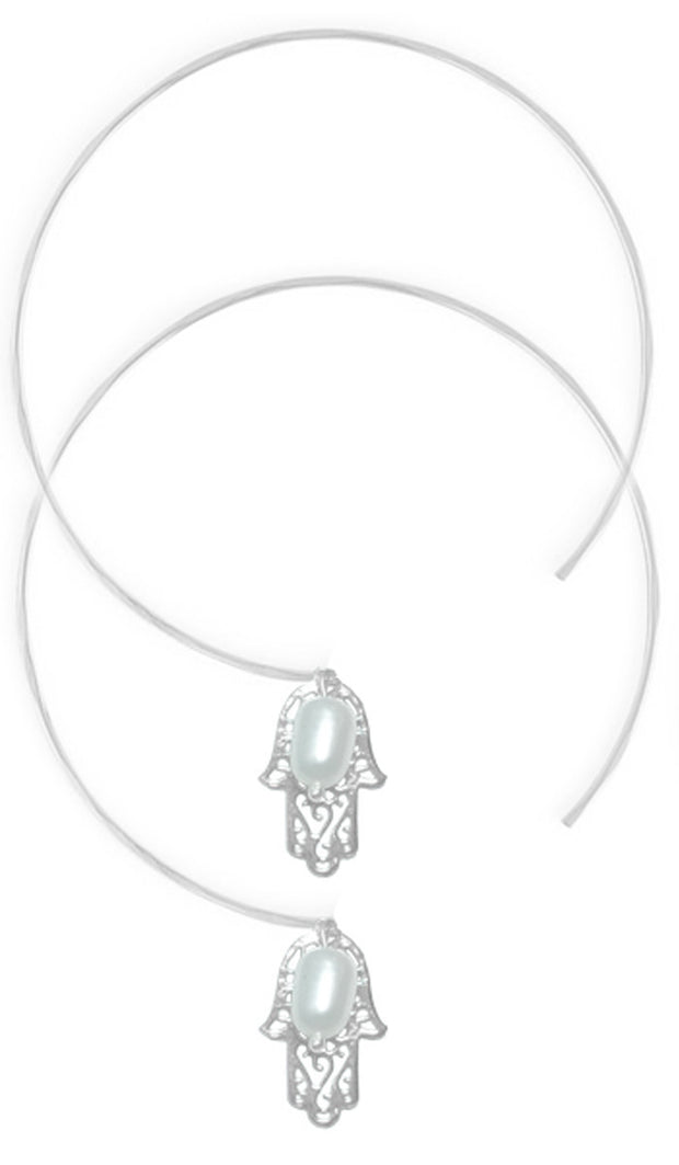 Sterling Silver Hamsa Light Hoop Earrings - ARTIZARA.COM